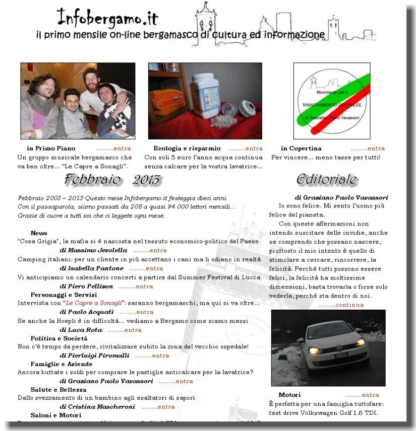 E' on line il numero 105 – Febbraio 2013 – diInfoBergamo!