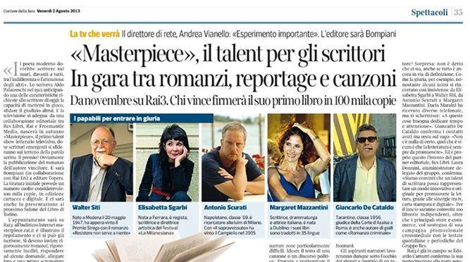 "La ""questione Masterpiece"" parte 1a: un talent show per aspiranti scrittori in TV, cuiprodest?"