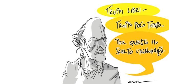 """La """"crudele"""" verità sugli italiani e i libri, nelle sagaci vignette diCruel"""