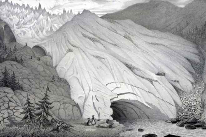 Raffigurazione ottocentesca di un ghiacciaio, tratta da http://www.thegorgeousdaily.com/etudes-sur-les-glaciers-by-louis-agassiz/