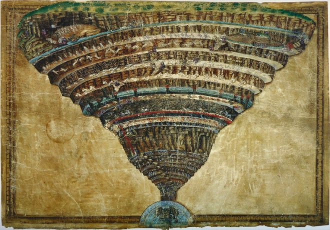 Sandro Botticelli, La Voragine dell'Inferno, 1490-1495.