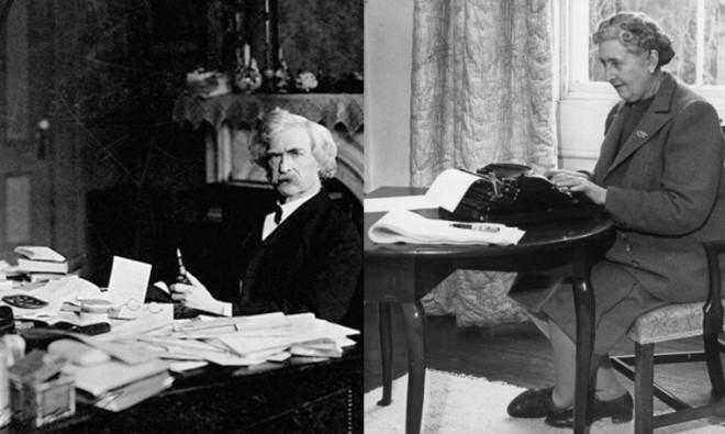 """Stili """"scrivaniali"""" a confronto: Mark Twain entropico a sinistra, Agatha Christie minimalista a destra."""