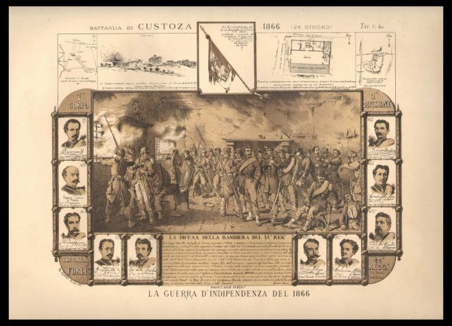 L'episodio della difesa della bandiera tricolore ad Oliosi durante la battaglia di Custoza, in una stampa dell'epoca.