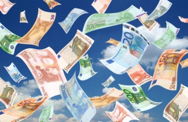 Falling euros (sky background)