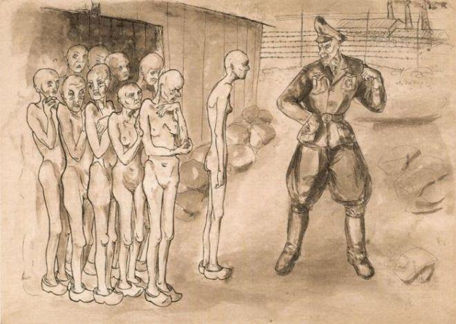Un disegno della pittrice ceca Helga Weissova, nata a Praga nel 1929. Internata nel ghetto di Terezin poco dopo il suo dodicesimo compleanno, Weissova vi rimarrà per quasi tre anni, per poi venire deportata ad Auschwitz, Freiburg e Mauthausen. Verrà liberata da soldati americani il 5 maggio del 1945.