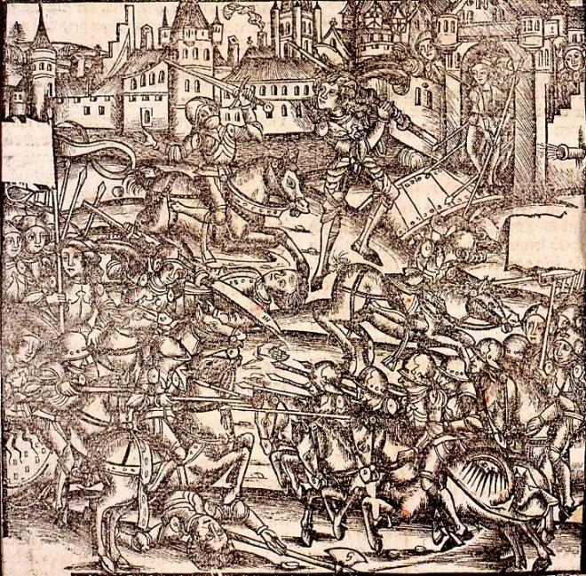 """Hans Baldung Grien, """"Ville assiégée pendant la guerre des Paysans"""", 1525."""