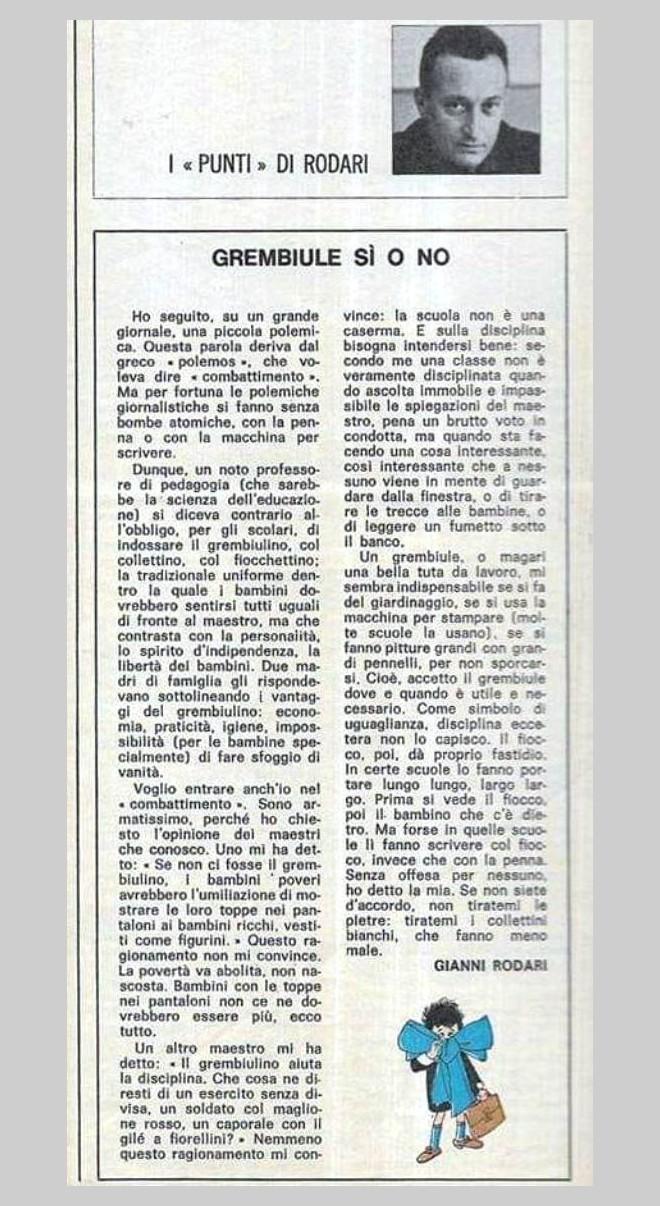 Gianni Rodari E Il Grembiule A Scuola
